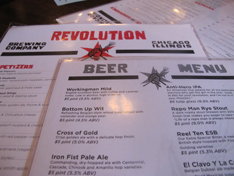Revolution brewery menu
