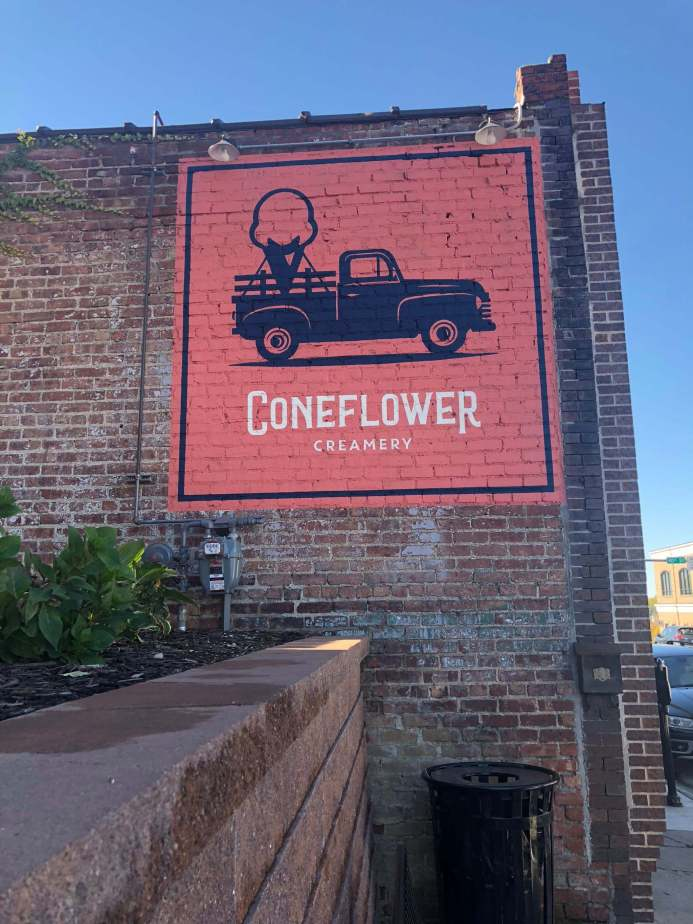 Sign of Coneflower Creamery in Omaha