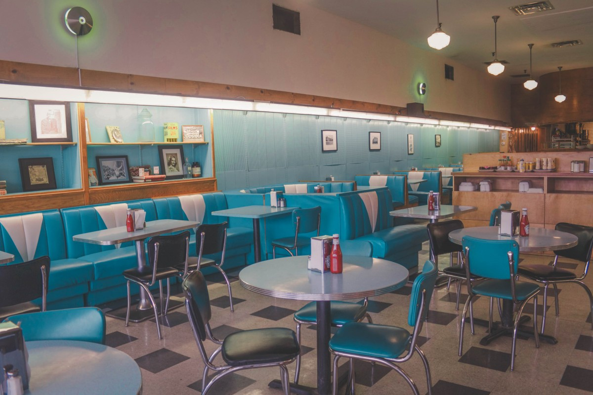 interior of one of the iconic blue restaurants in Jackson Mississippi