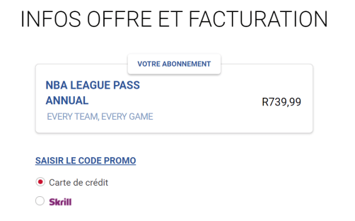 paiement nba league pass