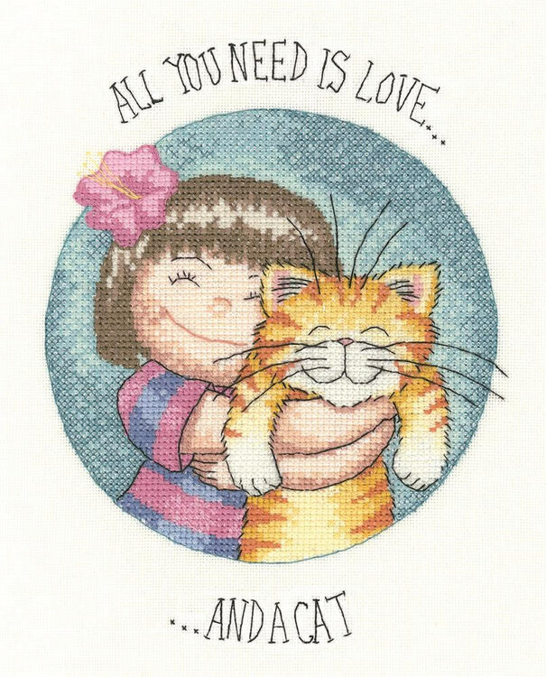 Download All You Need Is Love And A Cat Cross Stitch Kit only £19.25