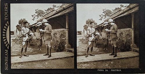 c1902 Sunbeam Stereo Photo British India Postman