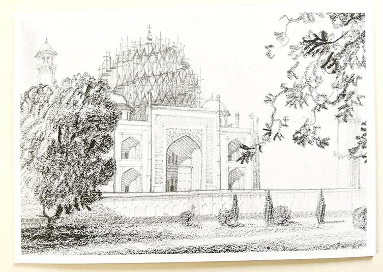 WW II Drawing Taj Mahal Protected With Bamboo Scaffolding