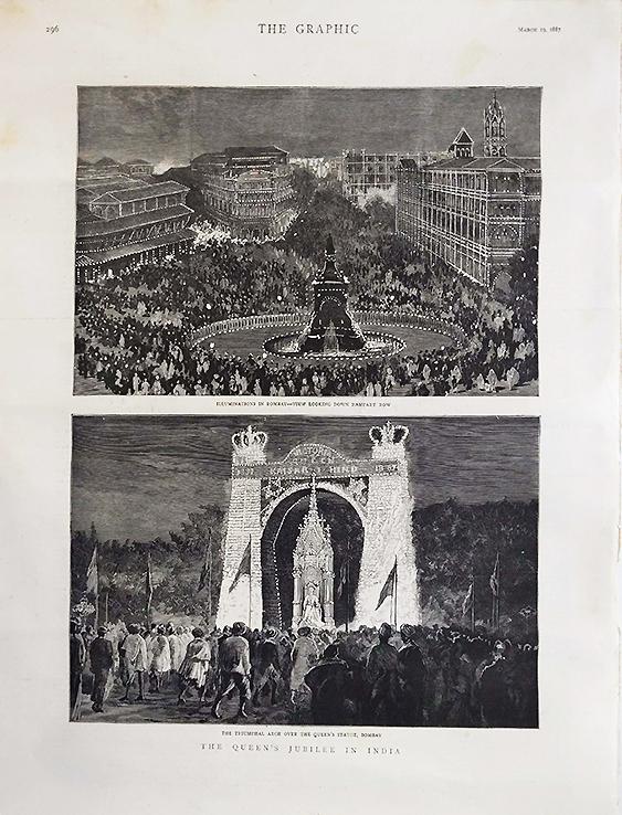 c1887 Print The Queen's Jubilee In India