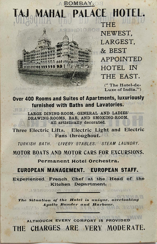 Taj Mahal Hotel Bombay -1907 Rare Ad