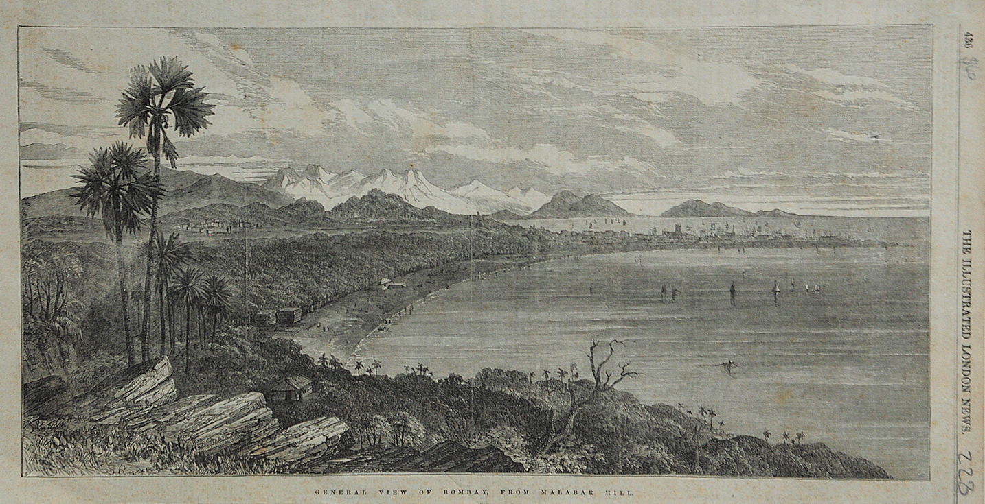 Antique Print General View Of Bombay From Malabar Hill