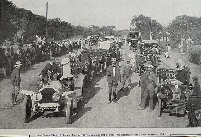 Antique Print Bombay Mahabaleshwar Car Rally 1906