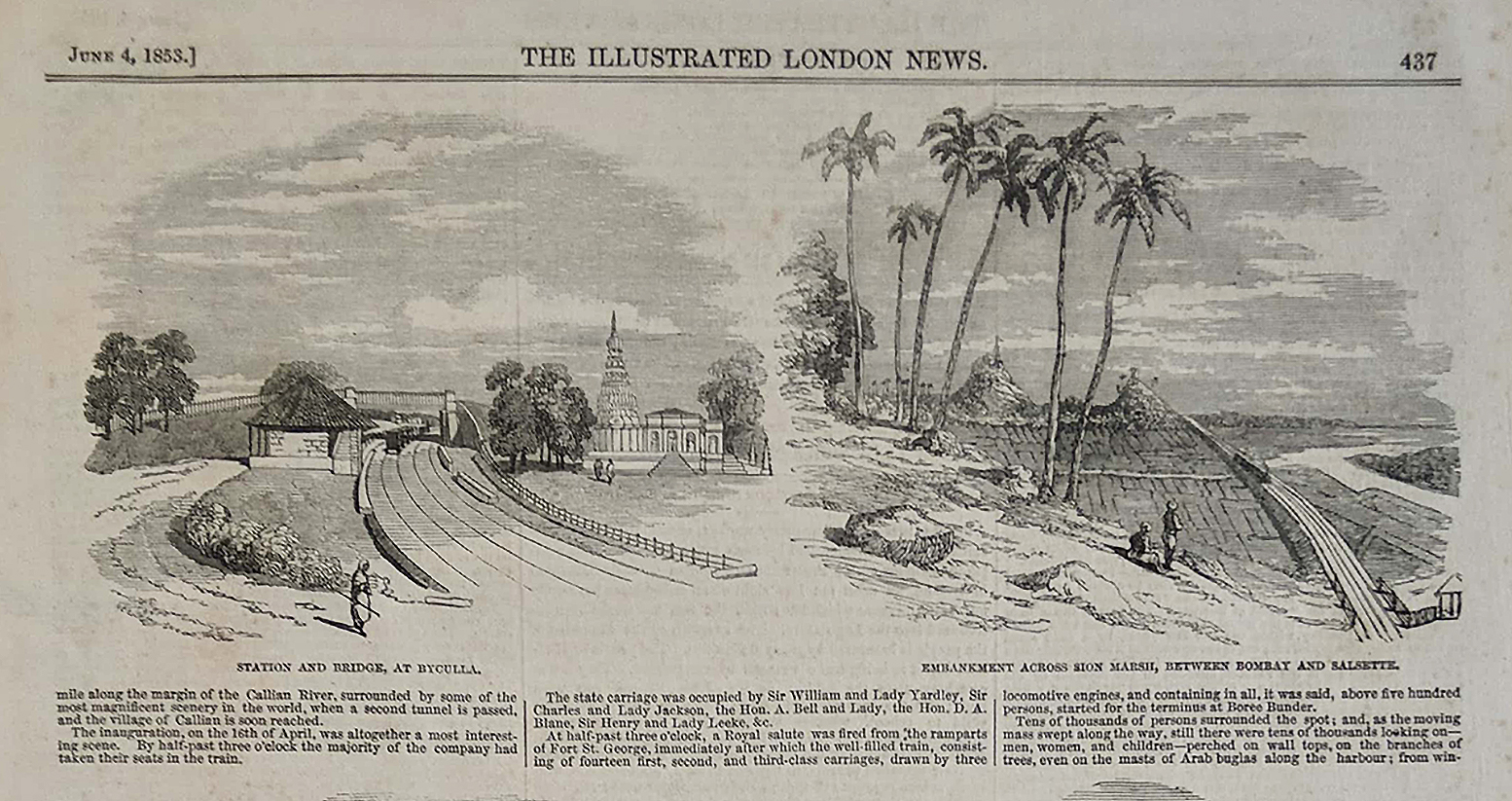 Antique Print First Passenger Train From Bombay to Thane 1853