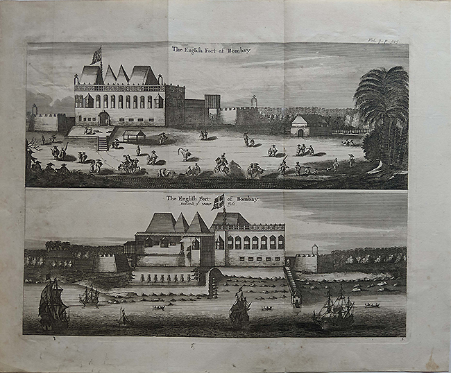 Antique Map/Plan English Fort Of Bombay