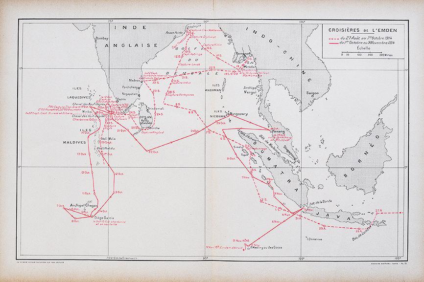 WWI German Cruiser Emden's Sea Route Map 1914