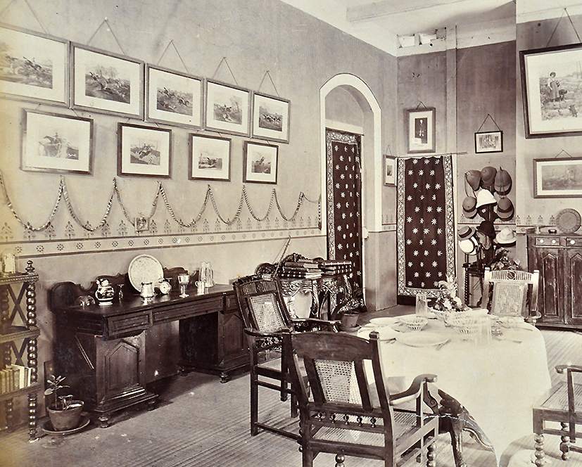 Interior Of A Bungalow In Bombay 19th Century - Old Photo