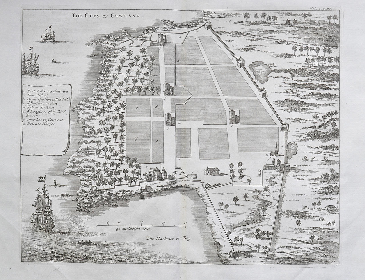 City of Cowlang or Kollam In South India - Antique Map 1750