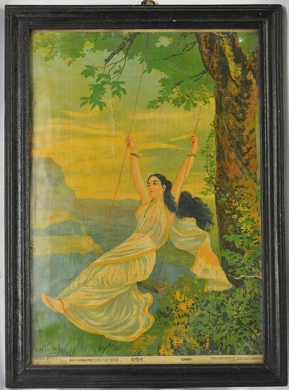 "Raja Ravi Varma's ""Mohini On A Swing"" - Vintage Print 1930s"