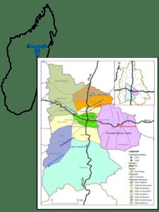 Carte de la zone du SSDS de Moramanga avec les 3 communes, les 30 villages et les Centres de santé de base de rattachement