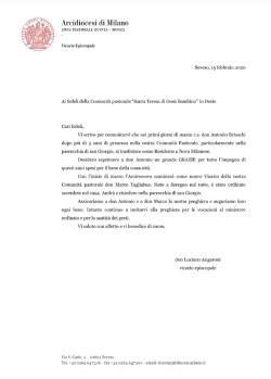 Lettera del Vicario di Zona