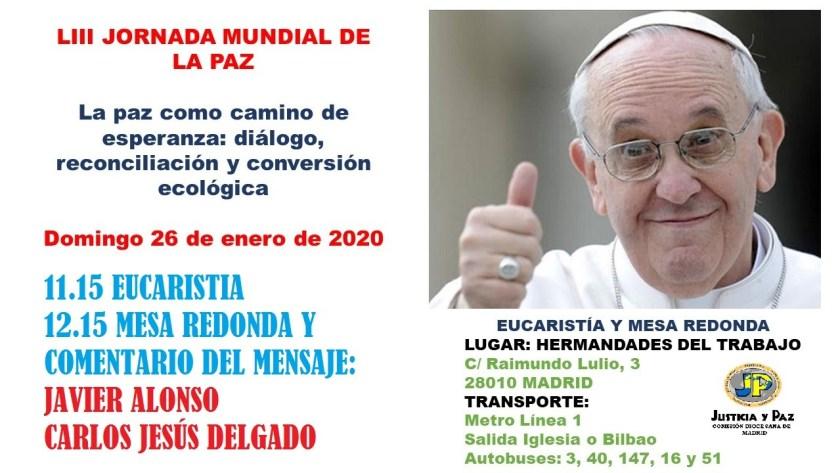 Celebración Jornada Mundial de la Paz 2020. Justicia y Paz Madrid