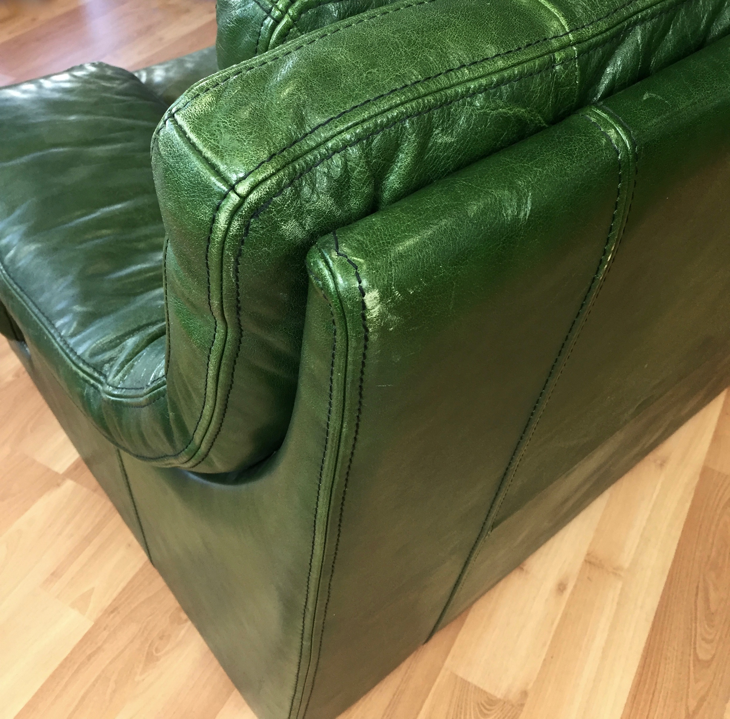Vintage Roche Bobois Green Leather Lounge Chair Sold