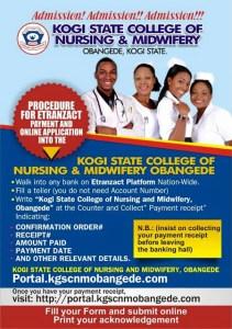 Kogi State College of Nursing and Midwifery Obangede Admission Form