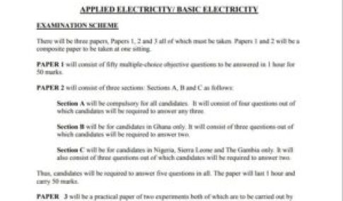 WAEC Applied Electricity/ Basic Electricity Questions