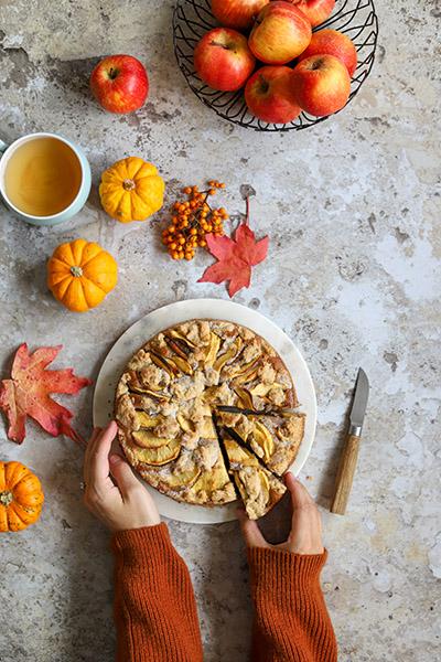 gateau aux pommes vegan et crumble recette d'automne vegan