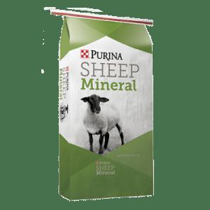 Purina Wind and Rain Sheep Mineral. Green and white feed bag. White sheep.