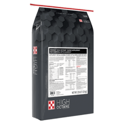 Purina High Octane Fly Control Supplement With ClariFly. Grey feed bag with black and white product label.