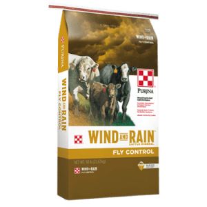 Purina Wind and Rain Fly Control. Gold and white 50-lb feed bag. Cattle.