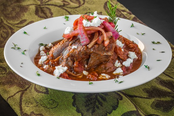 Braised Lamb Shanks with Goat Cheese and Pickled Red Onions