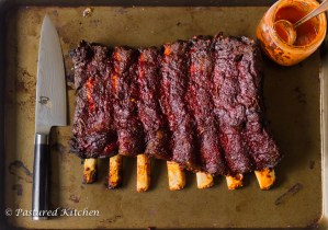 Bison Back Ribs with Sriracha Peach BBQ Sauce