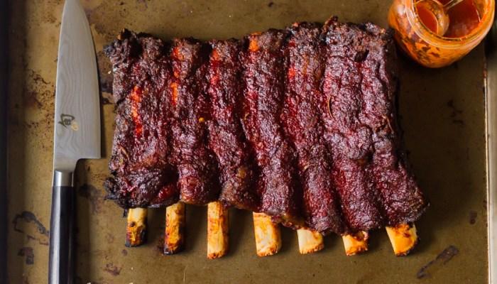 Bison Back Ribs with Sriracha Peach BBQ Sauce