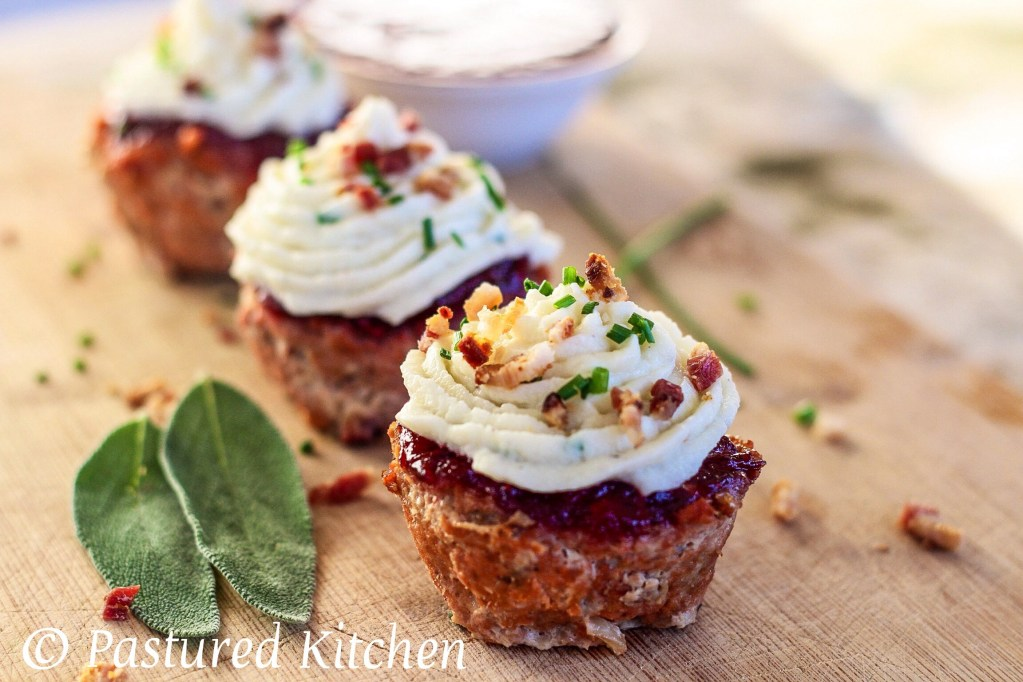 Thanksgiving Meatloaf Muffins with Cranberry Ketchup & Cauliflower Mash