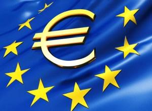Golden euro symbol over European Union flag - 3d render