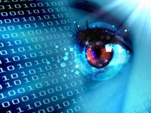 Stream of digital data with a human eye