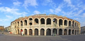 Ancient roman amphitheatre Arena in Verona, Italy. Most famous open air theater in the world