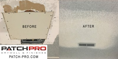 Drywall patch before and after
