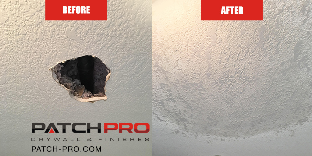 Before And After Ceiling Drywall Fix Portland