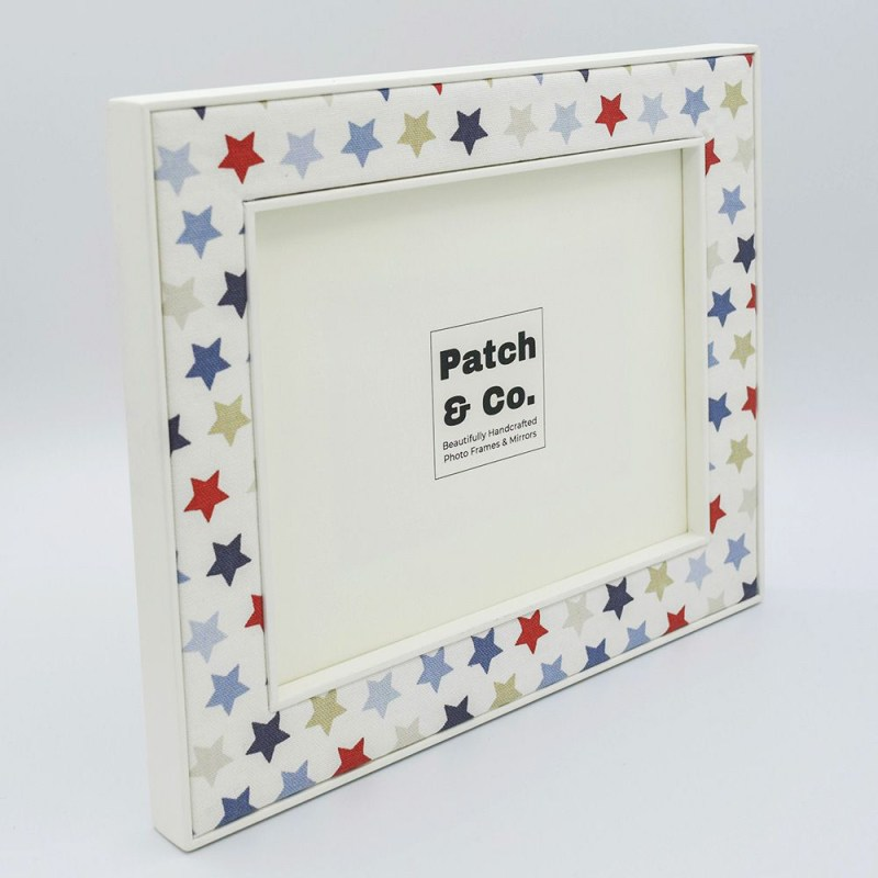 Image of the Oliver Fabric Photo Frame with stars in Blue