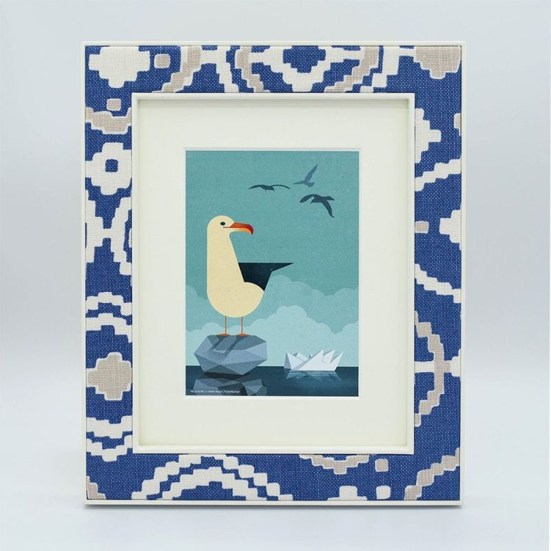 Blue Patch Fabric Photo Frame with Artwork and Mounr