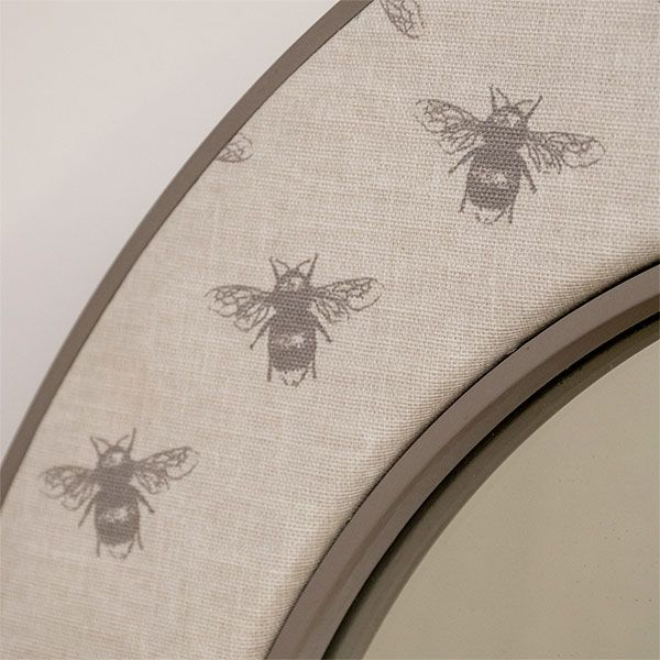 Close up of the Bee Mirror Fabric with Frame