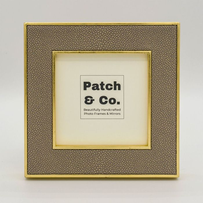 Square Sand Colour Faux Shagreen Photo Frame with Gold Frame