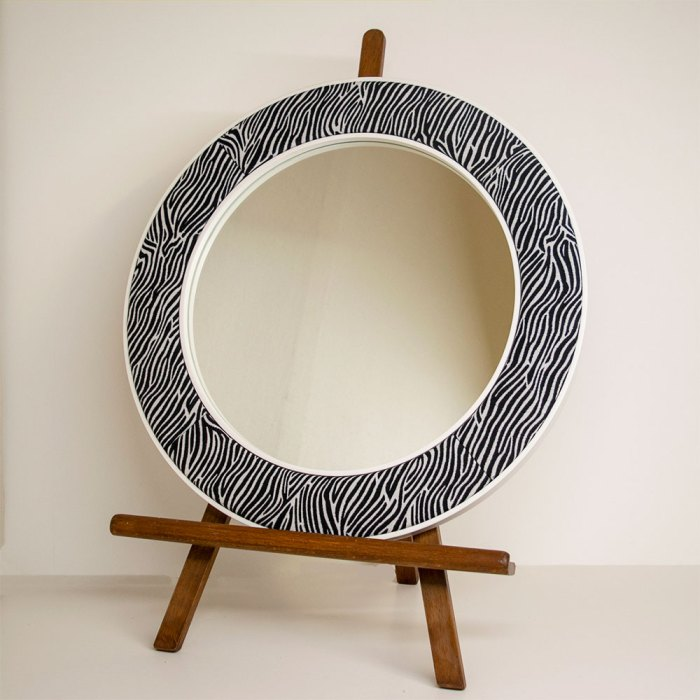 The Lewa Zebra Print Mirror with White Frame