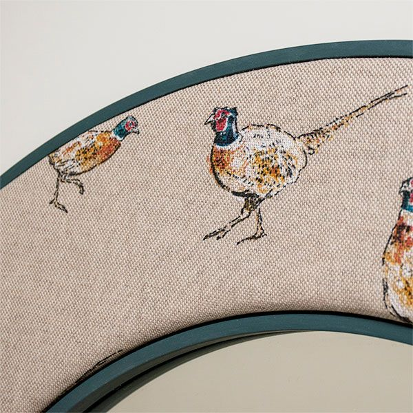 Close up of the pheasants on the Jarvis Mirror Fabric
