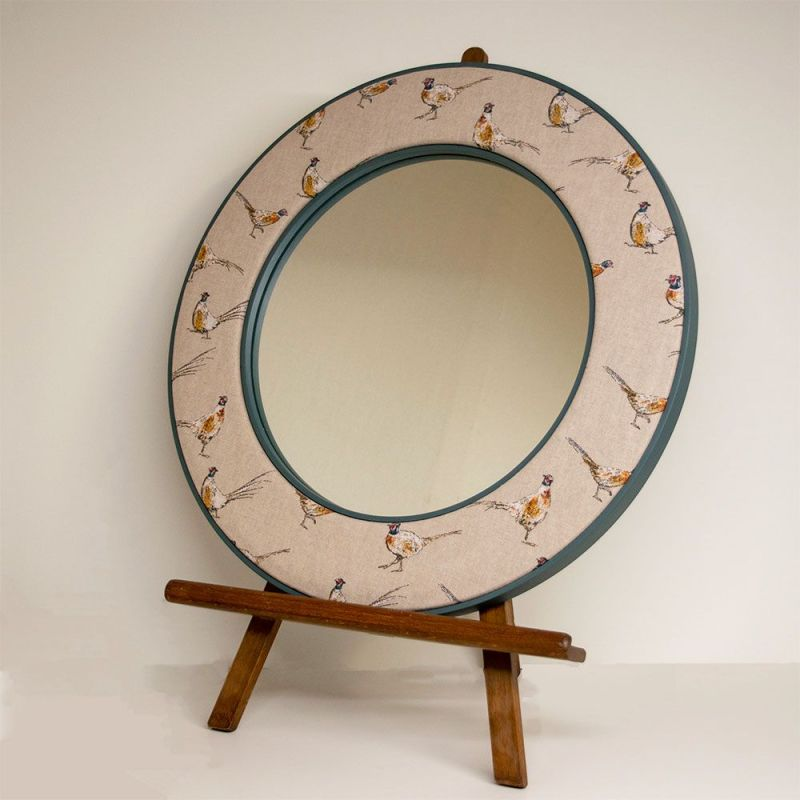 The Jarvis Pheasant Mirror standing on an Easel