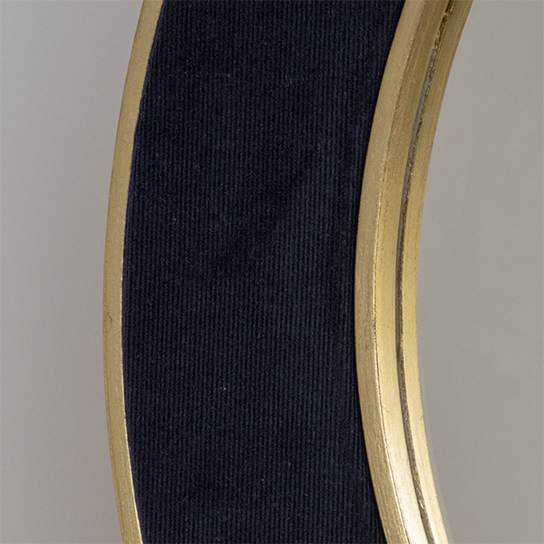 Patrick Navy Mirror with plain mirror glass. Narrow Corduroy Fabric with Gold metal leaf frame