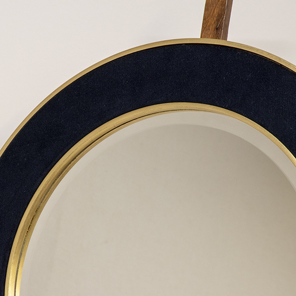 A closer photo of the Patrick Mirror in Navy with Gold Metal Leaf Frame and the Bevelled edge Mirror Glass