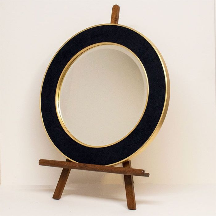 Navy Corduroy Patrick Round Mirror on easel