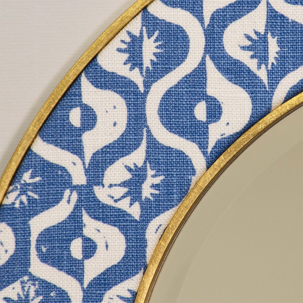 Blithfield Mirror Fabric in Blue - Close up photo