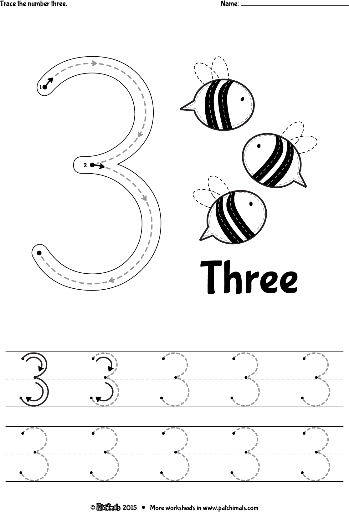 Trace Numbers Worksheets