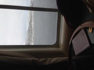 Working in the Hurtigruten lounge.