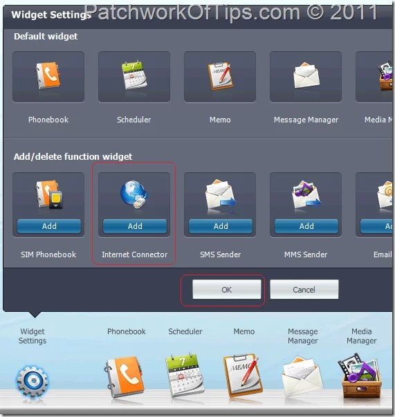 How to activate the Internet Connection widget in Samsung PC Studio